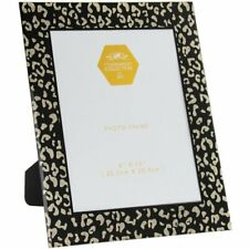"""Wildside Black and Gold Animal Print Glitter Glass 8"""" x 10"""" Picture Photo Frame"""