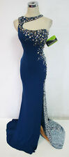 Cassandra Stone by MacDuggal 82042A Navy Silver $458 Prom Formal Gown 2
