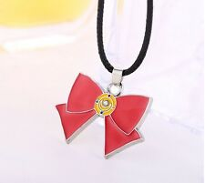 Cute Girls Anime Sailor Moon Necklace Red Bow Pendant Necklace