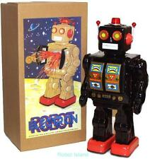 ME100 Robot Tin Toy Battery Operated Black with Gold Doors Version - SALE!