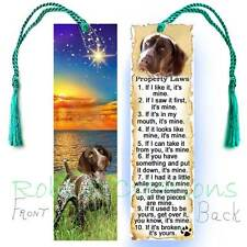 German Shorthaired Pointer Large Bookmark Tassel Dog Rules Fun Property Law Card