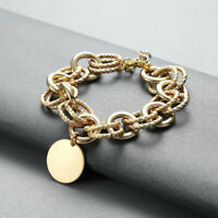 Round Pendant Link Chain Adjustable Bracelets For Women Geometric Bangle Gifts