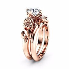Fashion Women 925 Silver Plated Rhinestone Flower Ring Set Wedding Jewelry Sz6-9