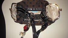Kathy Van Zeeland Handbag w Side Pockets/Zipper Brown and Black