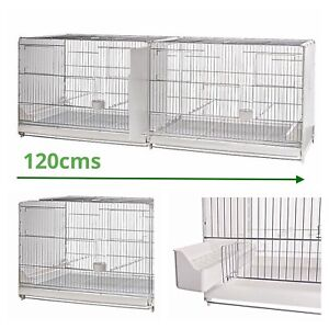 """120cm 47"""" Italian Plastic Wire Double Breeding Cage With Divider - Budgie, Finch"""