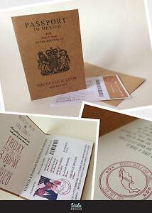 Passport Style wedding Invitations. Abroad wedding
