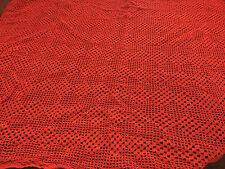 Vintage Handmade Crocheted Tablecloth Christmas Red 1960s Rectangular 44 x 28