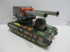 ARMY TANK WITH MOVING GUNS FRICTION OPERATED GOOD CONDITION MADE IN JAPAN