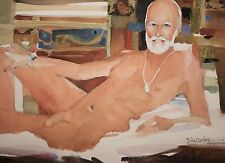 "Bill Carter Original Watercolor, ""Reclining Nude Male"" Signed & MINT, 1 of 2!"