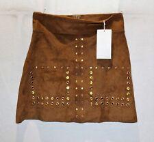 ZARA WB Brand Brown Yellow Jewels A Line Raw Hem Mini Skirt Size S BNWT #SS96