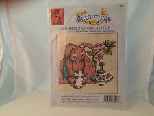 """COUNTED CROSS STITCH KIT 4-1/4x3-3/4"""" BUNNY PATTERN BUTTERCUPS GRAPHWORKS  NOS"""