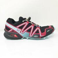 Salomon Womens Speed Cross 3 369821 Black Red Running Shoes Slip On Size 10
