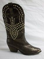 Reba Size 5.5 M Biker Brown Leather Mid Calf Cowboy Boots New Womens Shoes NWOB