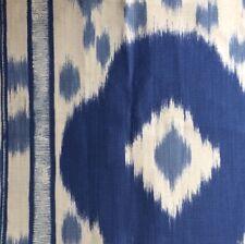 BRUNSCHWIG & FILS Varkala Print Ikat navy sky linen cotton Italy Remnant New