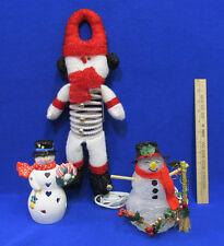 Snowman Bouncy Door Hanger Hallmark Tea Light Candle Light Up Figurine Lot of 3