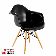 Replica Charles Eames DAW Armchair with Beech Wood Legs - Black (ABS Plastic)