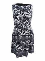 Vince Camuto Women's Floral-Print Fit & Flare Dress (14, Black/White)