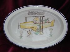 ART DECO SHELLEY MABEL LUCIE ATTWELL BABY'S PLATE ~ FAIRIES IN VINTAGE AEROPLANE