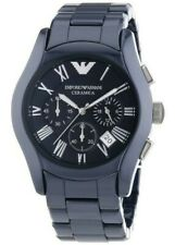 BNWT Emporio Armani AR1469 Ceramic Watch Chronograph Blue Quartz Mens Unisex