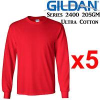 Gildan Long Sleeve T-SHIRT Red blank plain tee S - XXL Men's Ultra Cotton jumper