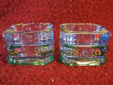 Party Lite Glass Votive / Tea Light Candle Holders with Gold Scroll Designs