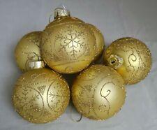 "Gold Matte Snowflake Gold Glitter Glass Ornament Set 6  3.5"" Ball Kurt Adler"