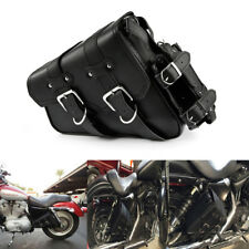 Motorcycle Saddle Bag Bike Left Side Storage Black Leather For Harley 04-up