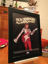 "3 FRAMED ""RICK DERRINGER"" & ""ALL AMERICAN BOY"" LP ALBUM CD MAGAZINE PROMO ADS"