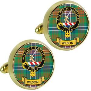 Mens Cufflinks Wilson Scottish Clan Crest Brass Finish Presentation Boxed
