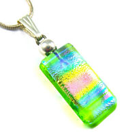 DICHROIC Glass Silver PENDANT Slide Blue Pink Rainbow Tie Dye Striped Lime Green