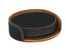Rich Black Round Leather Coasters 6 Pc Pack - Party Bartendering Tabletop Favors