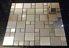 Metallic Silver Stainless Steel Mosaics Tile Random Modular Splashback 073-4
