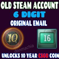 OLD STEAM ACCOUNT 6 DIGIT - 8 GAMES - FIRST EMAIL - 16 YEARS OLD - CSGO 10 YEAR