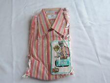 Vintage Mid Century Men's Shirt NOS Long Sleeve Pink Stripe 16 Tapered (J578)