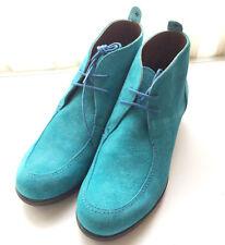 Zapato cuña Botín azul de ante  Agua de Mediterraneo de VELETTO t. 41 Nuevos