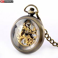 Luxury Vintage Mechanical Bronze Roman Pocket Watch Pendant Chain Steampunk Gift