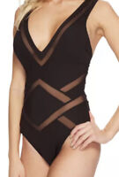 Kenneth Cole Black Mesh Plunge Mio One Piece Swimsuit Women's Size M 48423