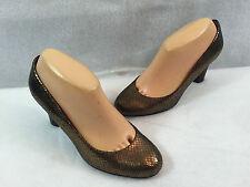Liz Claiborne Johnnie High Heel Pumps Shoes Gold Snake Print Leather Size 7 M