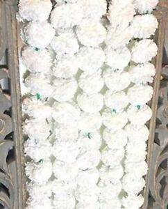 150 Pc All occasion Diwali Home Decor 5 feet long Artificial White Marigold