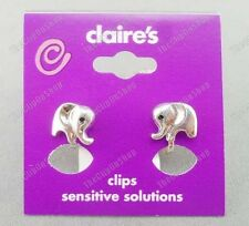 CLIP ON small ELEPHANT EARRINGS silver pltd CUTE ANIMAL non-pierced studs clips