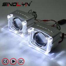 8.0 HID Bi-xenon Projector Lens W/ U Type LED Angel Devil Eyes DRL Halo Headlamp