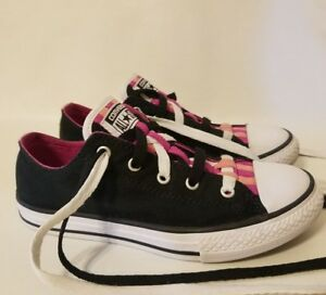 Converse All Star Loopholes Ox GS Black Pink Girls 3 Grade School Shoes Junior