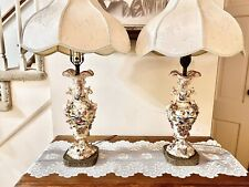 Rare Vintage Pair Capodimonte Floral Table Lamps Made In Italy