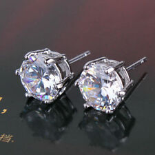 18K White Gold Crystal Solitaire Stud Earrings     316