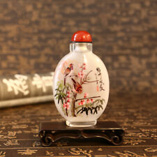 Inner Painting Snuff Bottle Chinese Antique Plum Bamboo Sparrow