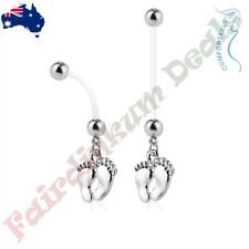 Bio Flex Pregnancy Navel Ring with Silver Ion Plated Baby Feet Dangle