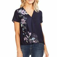 VINCE CAMUTO NEW Women's Navy Floral Vines Surplice Blouse Shirt Top S TEDO