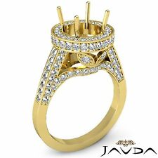 Diamond Engagement Ring 1.3Ct 14k Yellow Gold Halo Pave Set Round Semi Mount