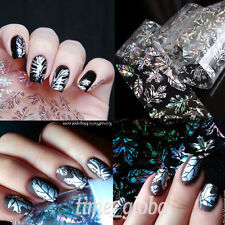 Nail Art Transfer Foils Sticker Wraps Holographic Feather Leaves Decal Paper