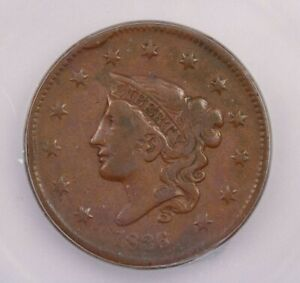 1836-P 1836 Coronet Head large Cent 1C ICG F12